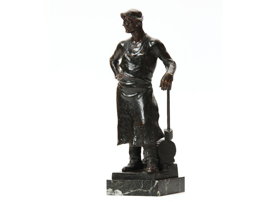 Vienna Secession Bronze Blacksmith Sculpture by Adolph Joseph Pohl For Sale