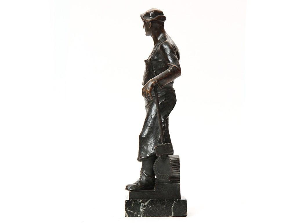 Austrian Bronze Blacksmith Sculpture by Adolph Joseph Pohl For Sale