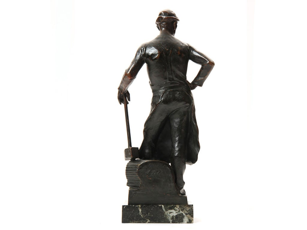Bronze Blacksmith Sculpture by Adolph Joseph Pohl In Excellent Condition For Sale In Sagaponack, NY