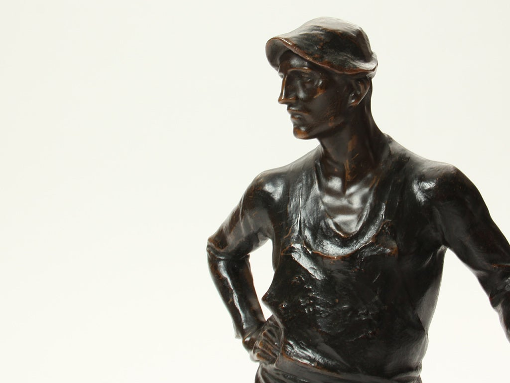 Marble Bronze Blacksmith Sculpture by Adolph Joseph Pohl For Sale