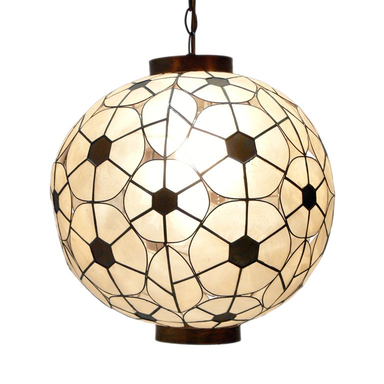Capiz Shell And Brass Chandelier At 1stdibs