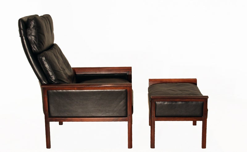 ... and black leather chair and ottoman by Vatne Mobler at 1stdibs