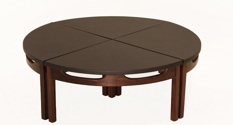 Black leather walnut base coffee table in four parts at for Cocktail tables parts