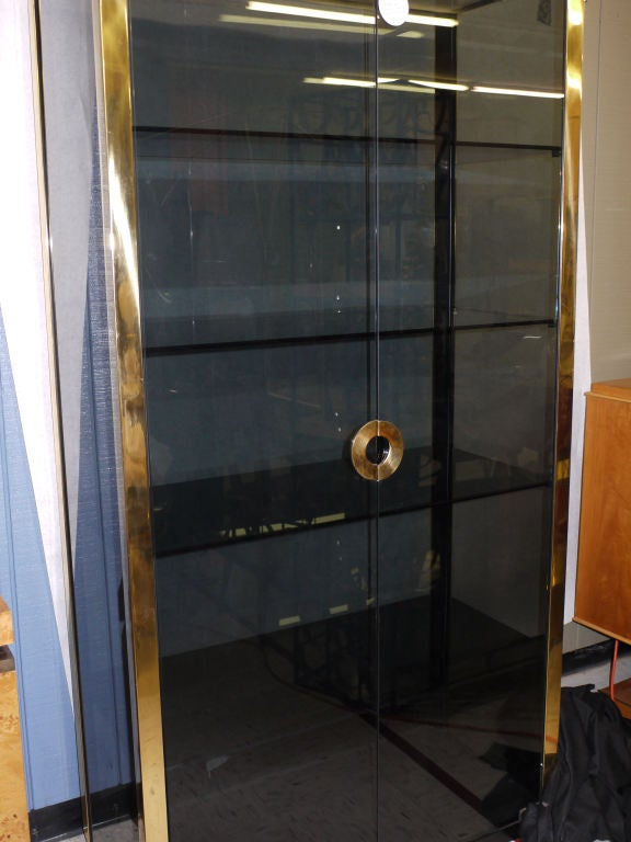 Italian Pair of Mario Sabot Grey Glass Vitrines For Sale