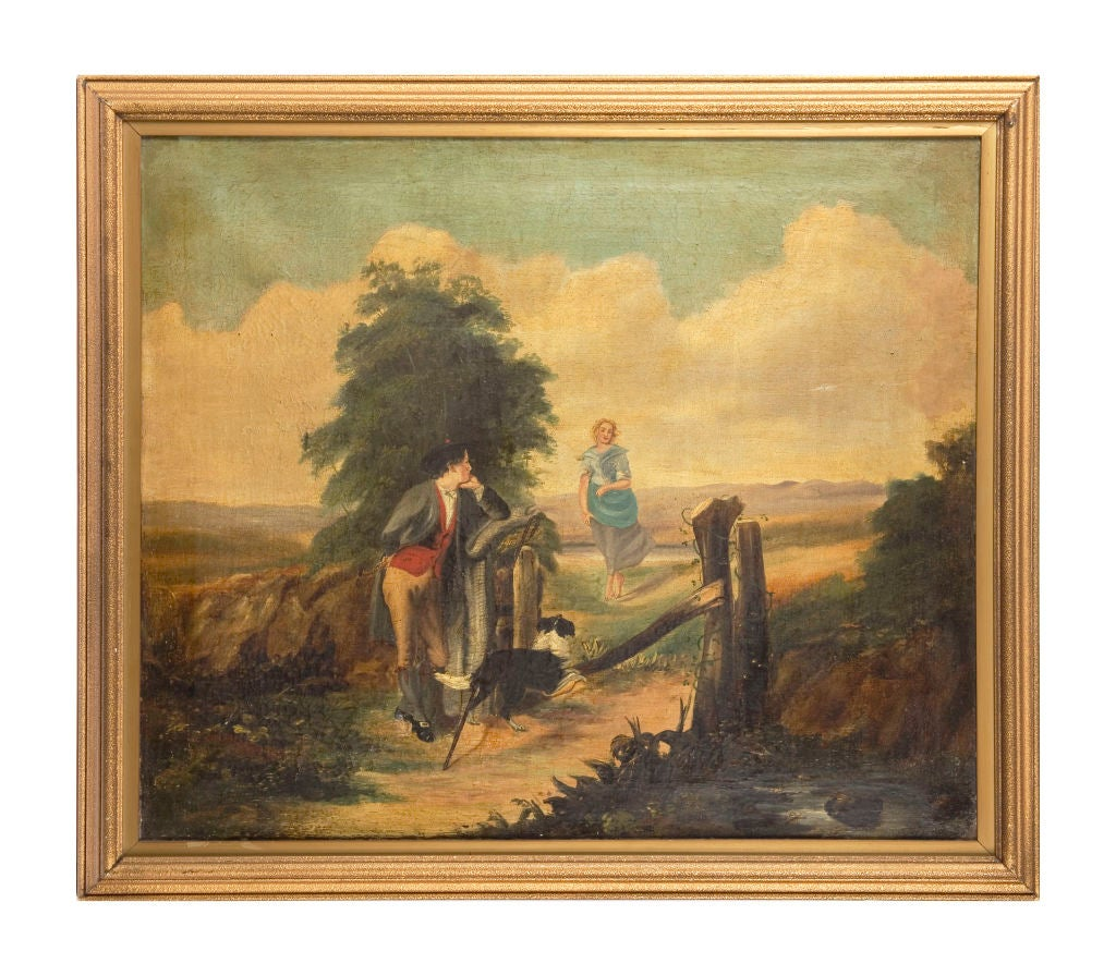 19th century naive oil on canvas.