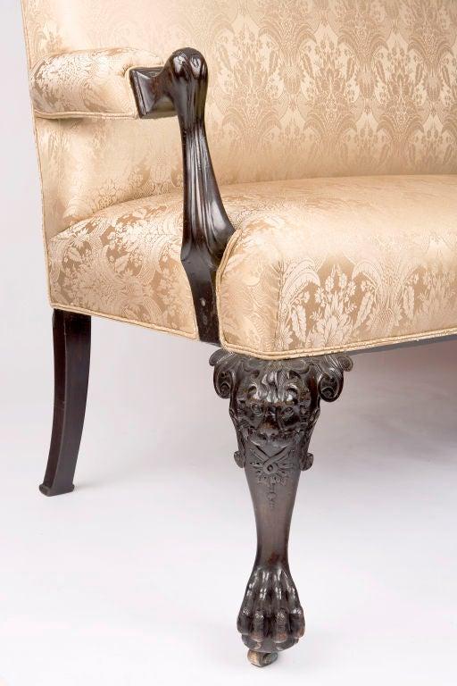 18th Century and Earlier Irish Georgian Mahogany Sofa w/ Carved Faces on Knees & Paw Feet