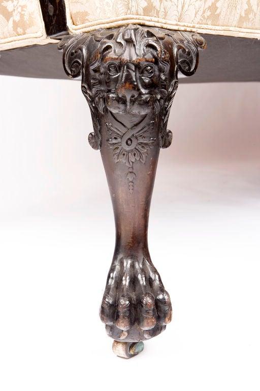 Irish Georgian Mahogany Sofa w/ Carved Faces on Knees & Paw Feet 1