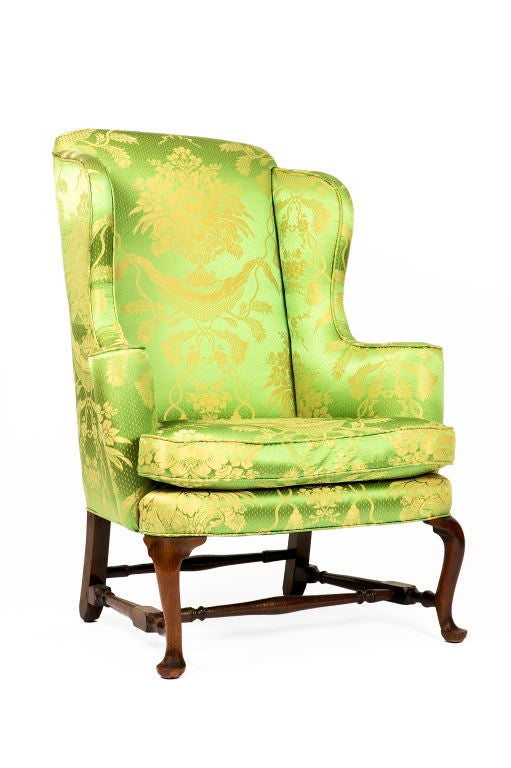 18th century New England Queen Anne Walnut wingback armchair.