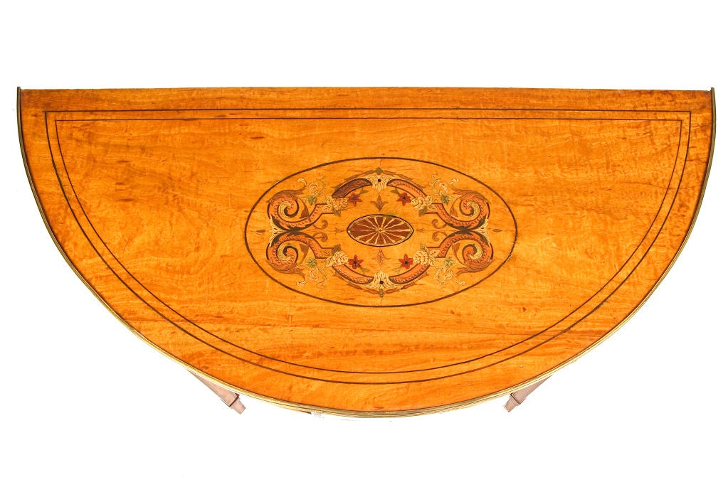 Georgian 18th Century Satinwood Demilune Console Table For Sale