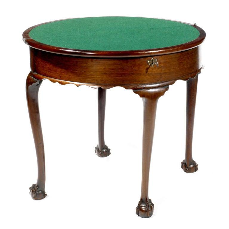 18th Century Irish Mahogany Demilune Card Table For Sale 1