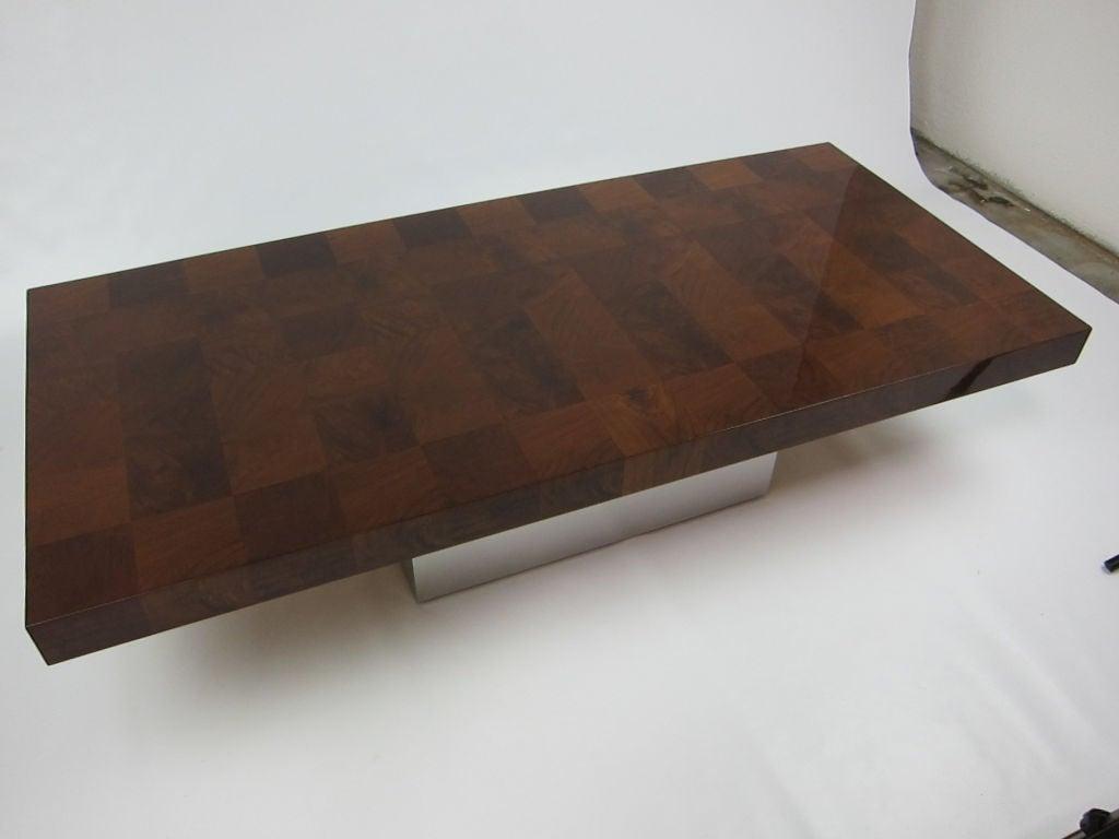 Patchwork Burl Coffee Table Polished Steel Base Milo Baughman At 1stdibs