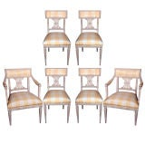 Set of Six Swedish Painted Dining Chairs.
