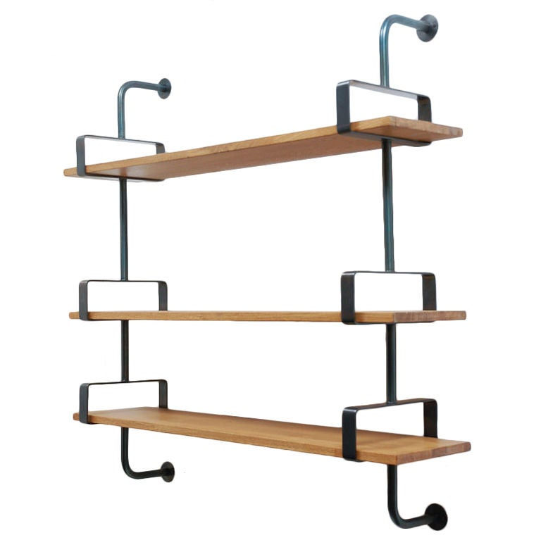 French Iron and Oak Wall Shelves