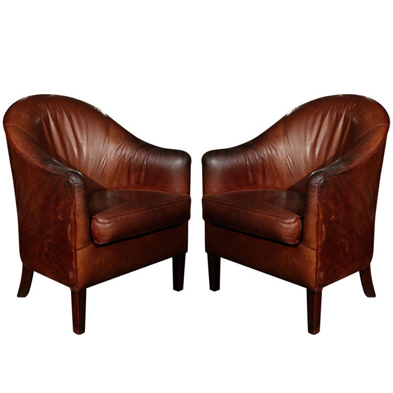 Pair of French Leather Arm Chairs, Circa 1900