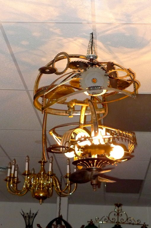 """Mad Max"" Industrial Sculpture Giant Orb Chandelier 5"