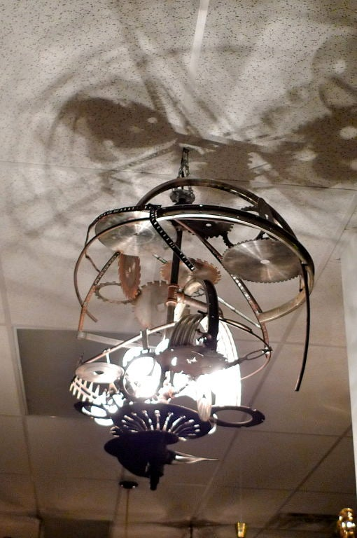 """Mad Max"" Industrial Sculpture Giant Orb Chandelier 7"