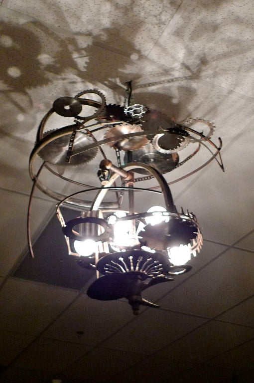 """Mad Max"" Industrial Sculpture Giant Orb Chandelier 9"