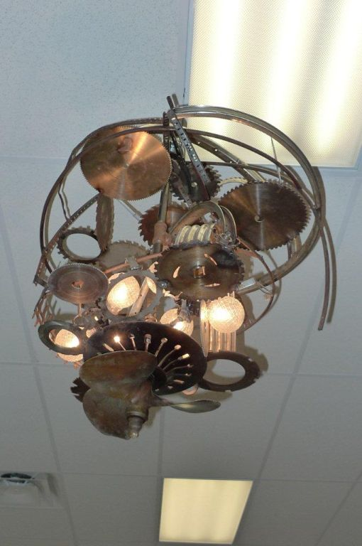 """Mad Max"" Industrial Sculpture Giant Orb Chandelier 10"