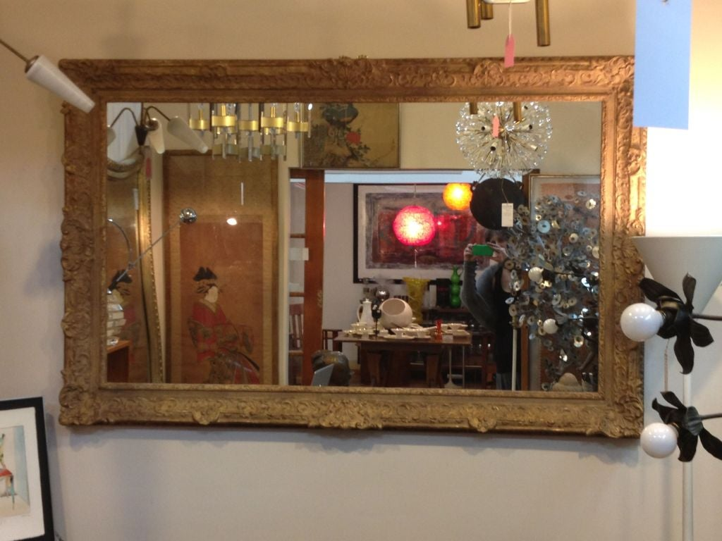 Large Mirror with Elaborate Vintage Gilt Wood Frame For Sale 3
