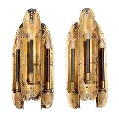 Pair of Brutalist Flame Metal Sconces Designed by Tom Greene