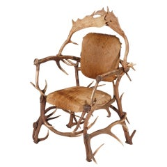 Rare Authentic 1980s Antler Armchair