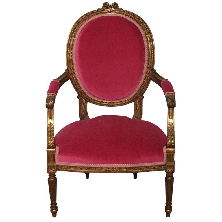 Decadent Louis XVI Giltwood Armchair in Fuschia Velvet 1