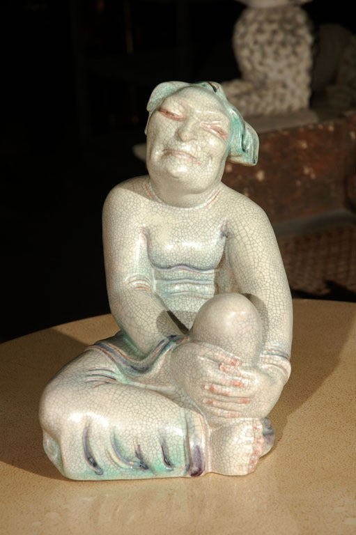 Large crackle glazed European sculpture of an Asian figure similar to a Buddha, Luohan. Most likely Royal Copenhagen.
