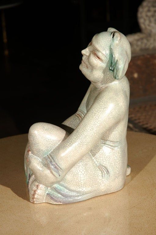Large Crackle Glazed Buddha Figure 5