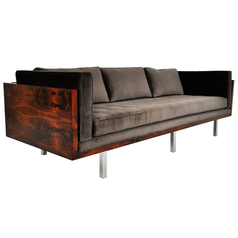 rosewood case sofa milo baughman at 1stdibs