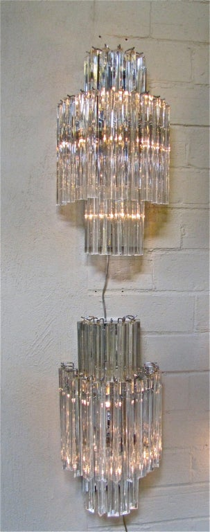Large Crystal Wall Sconces : Pair Large Venini Italian Crystal Wall Sconces at 1stdibs
