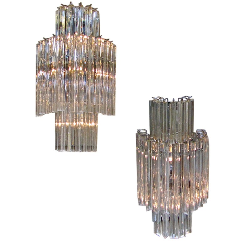 Italian Crystal Wall Lights : Pair Large Venini Italian Crystal Wall Sconces at 1stdibs