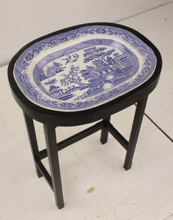 Antique English Blue Willow Platter On Stand At 1stdibs