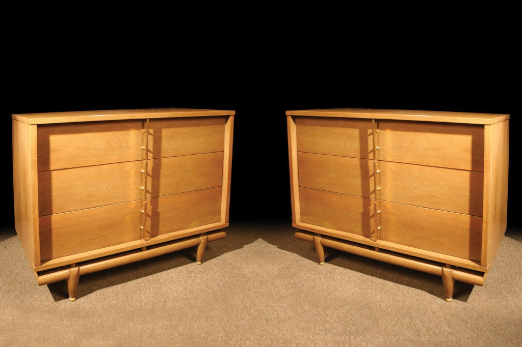 Pair Bleached Walnut Chests by Kent Coffey. Circa 1960 image 4