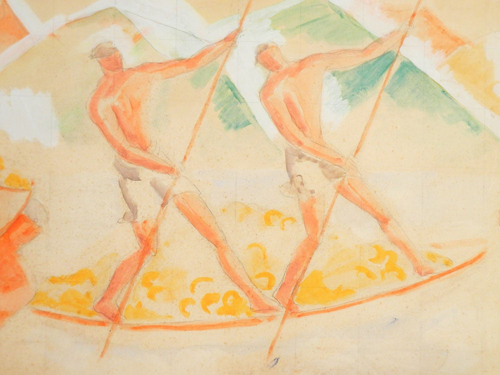 Proof that Scandinavia equalled France in its embrace of Modernism and what we now call Art Deco, this important mural study was made by Jais Nielsen in 1923 for Tivoli Gardens in Copenhagen. Depicting a series of harvest scenes in Italy, complete
