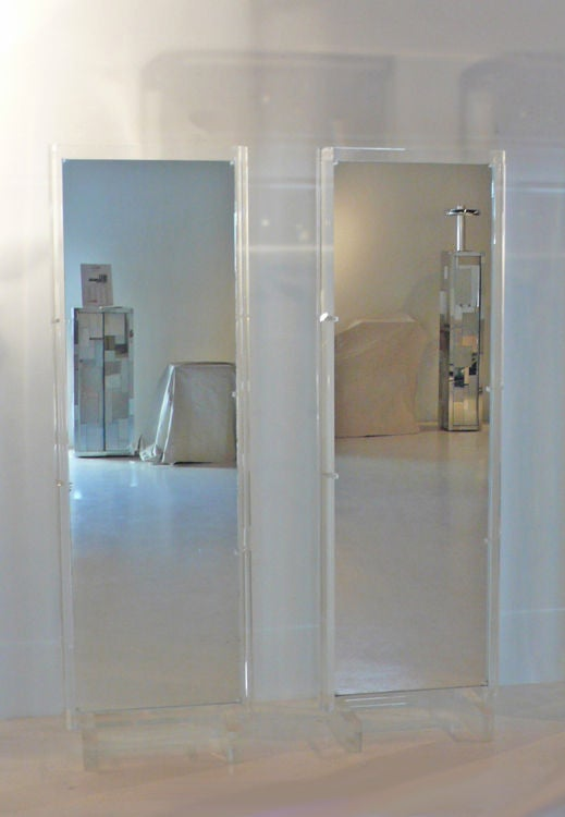 2 Acrylic Freestanding Mirrored Room Dividers At 1stdibs