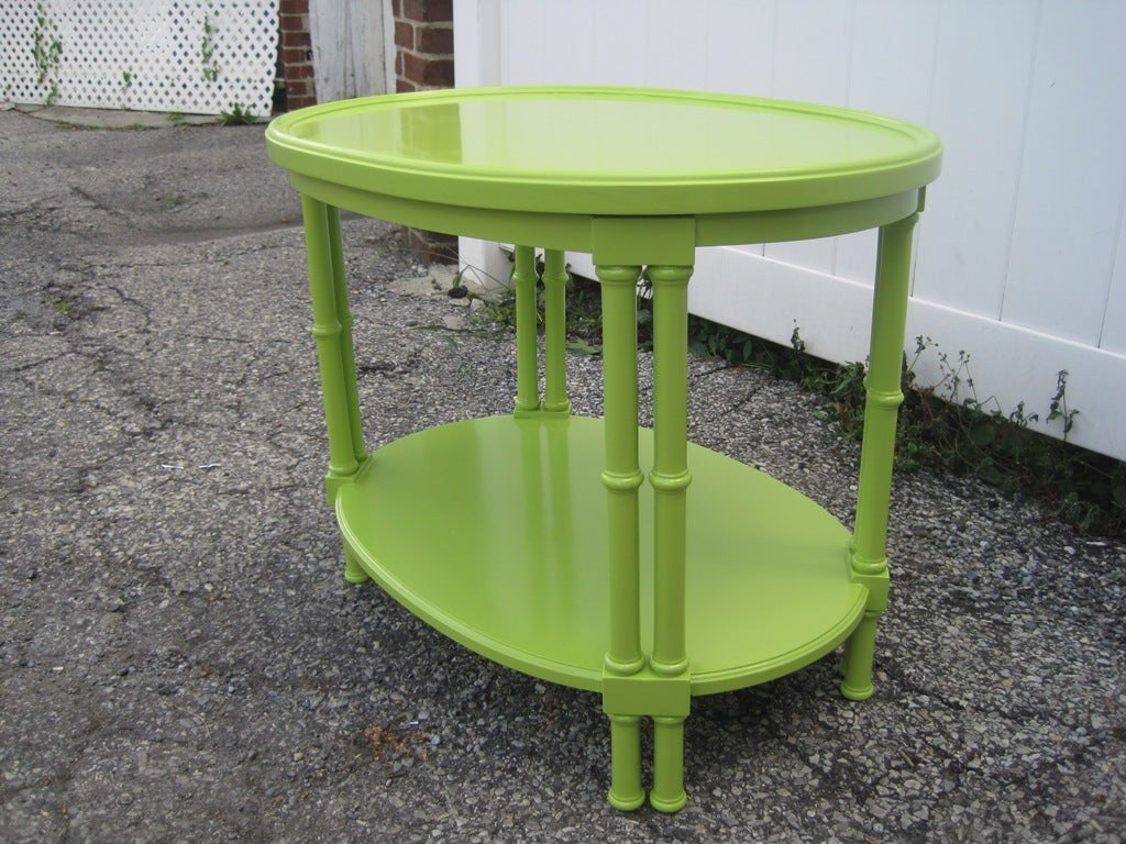 Mid-Century Modern Green Faux Bamboo Oval Side Table after T.H. Robsjohn-Gibbings For Sale