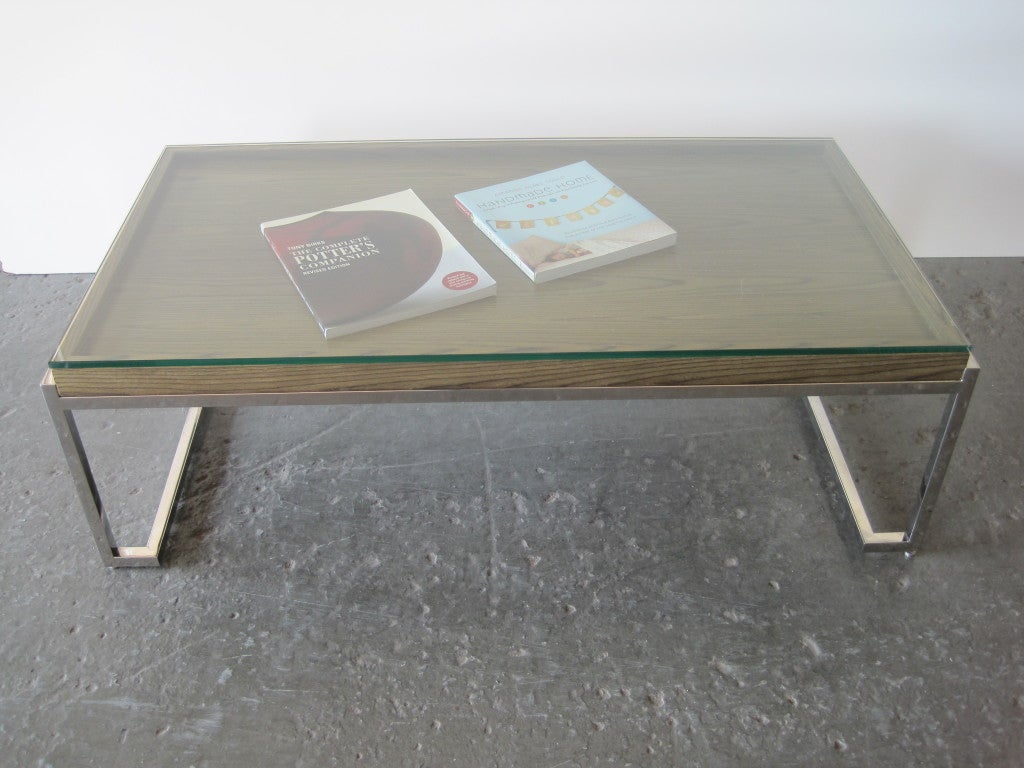 Glass top cocktail table with display after milo baughman at 1stdibs Display coffee table with glass top