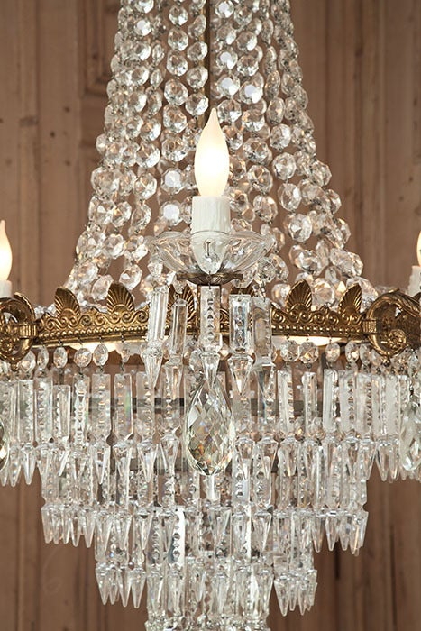 Antique Bronze & Crystal Chandelier In Excellent Condition For Sale In Dallas, TX