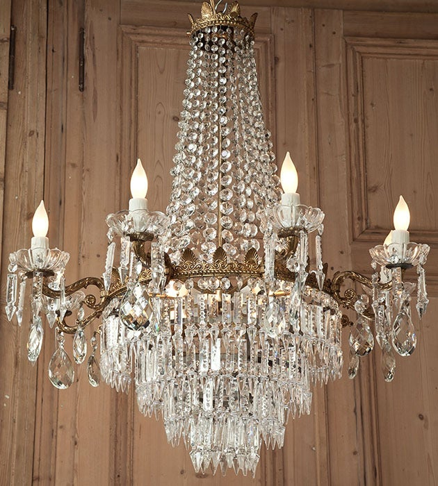 20th Century Antique Bronze & Crystal Chandelier For Sale