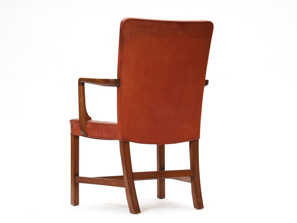 High Back Barcelona Chair by Kaare Klint for Rud Rasmussen In Good Condition For Sale In New York, NY
