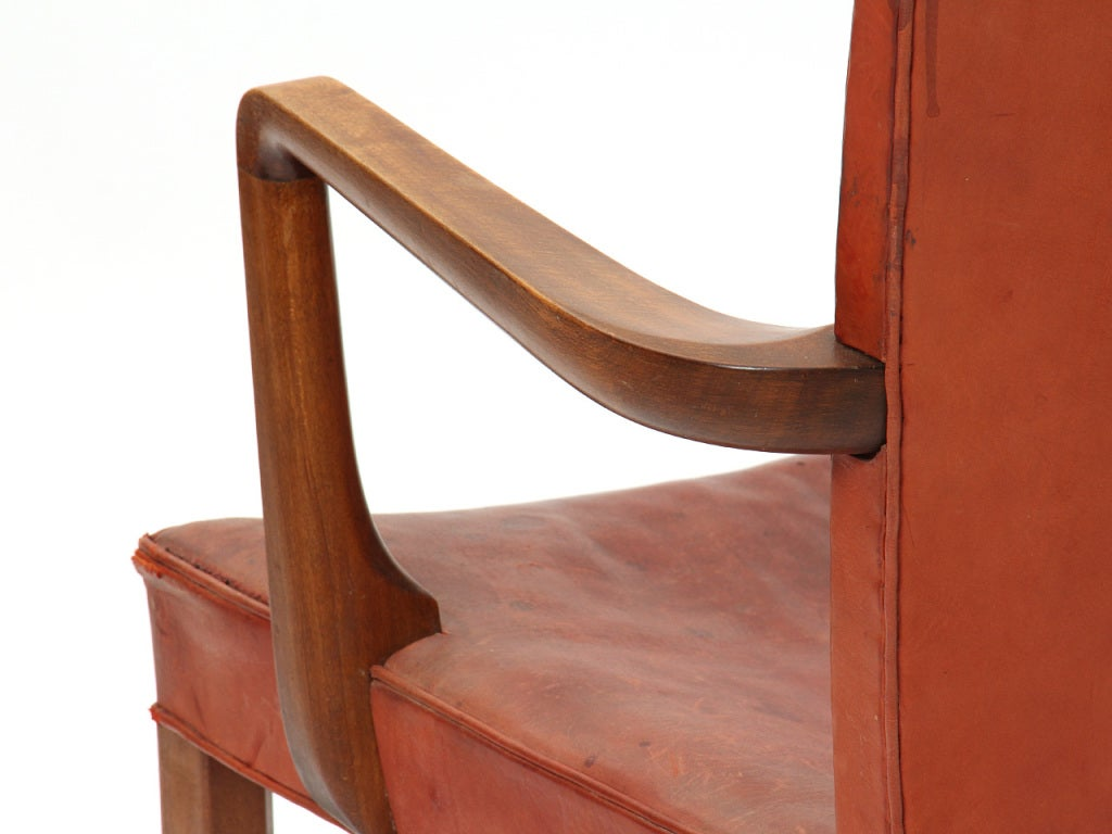 Mahogany High Back Barcelona Chair by Kaare Klint for Rud Rasmussen For Sale