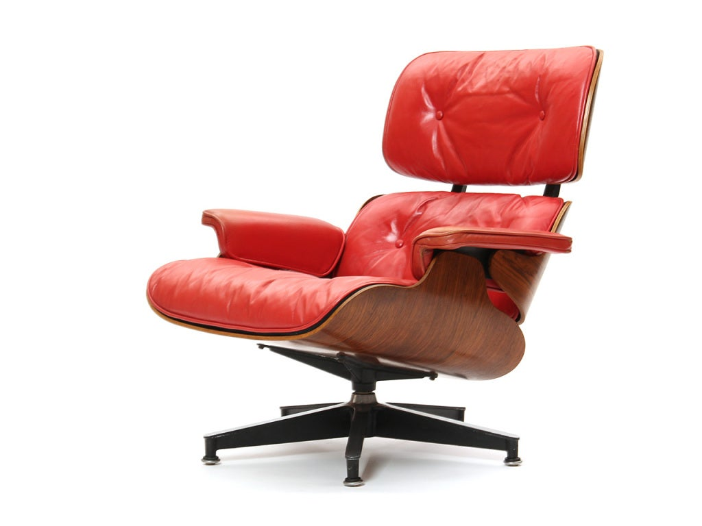 red lounge chair by charles and ray eames at 1stdibs. Black Bedroom Furniture Sets. Home Design Ideas