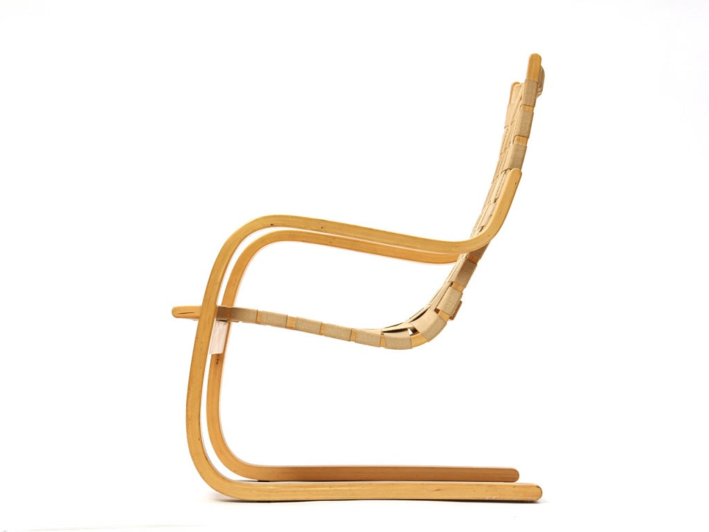 Remarkable Webbed Lounge Chair By Alvar Aalto For Artek Pabps2019 Chair Design Images Pabps2019Com