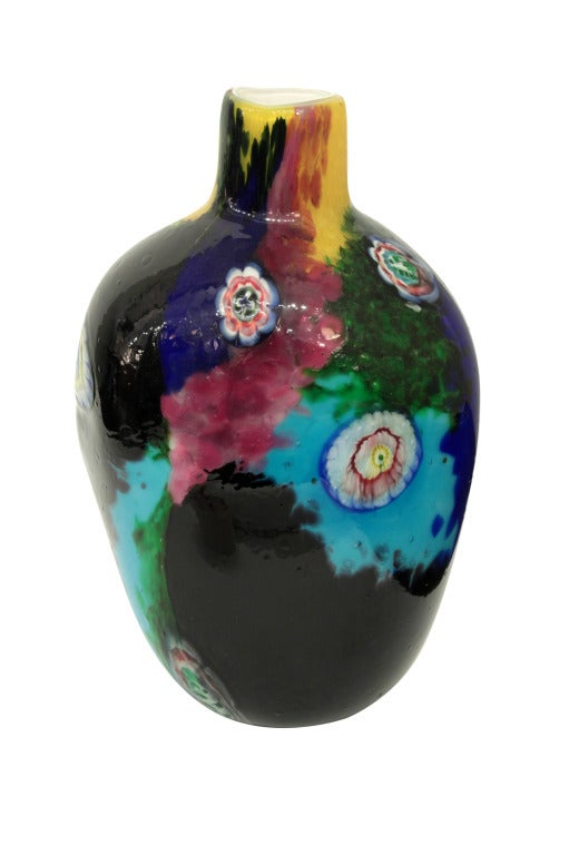 Handblown glass vase with white glass, glass fragments and murrhines by Arte Vetraria Muranese (A.V.E.M.), Murano, Italy, 1950s.