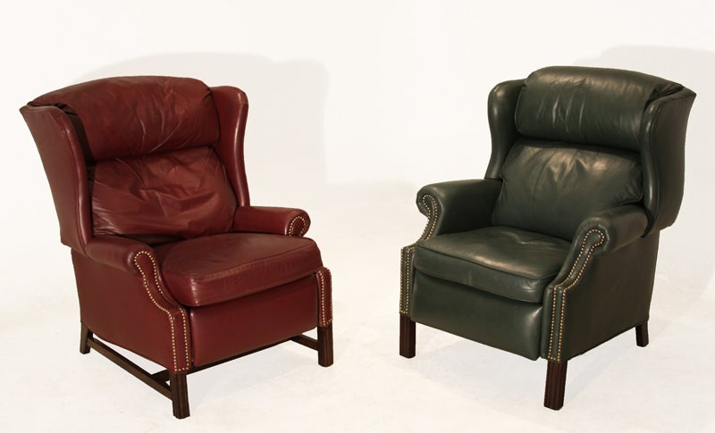 Traditional sculptural wingback leather mahogany and for Wing back recliner chair