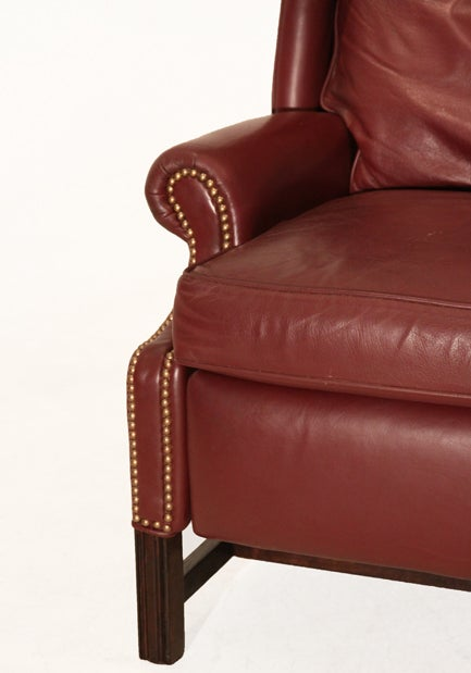 Traditional Sculptural Wingback Leather Mahogany And