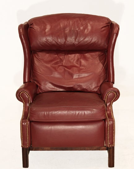 Wing back leather recliner in a burgundy leather at 1stdibs for Wing back recliner chair
