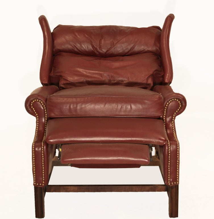 Traditional Sculptural Wingback Leather Mahogany and Brass Recliner 3 & Traditional Sculptural Wingback Leather Mahogany and Brass ... islam-shia.org