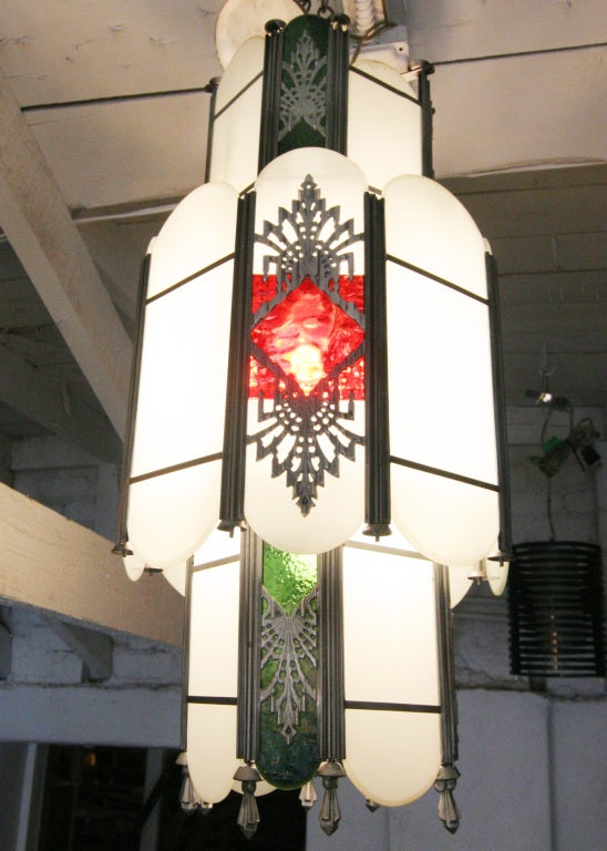 Intricate Art Deco Stained Glass Chandelier For Sale 1