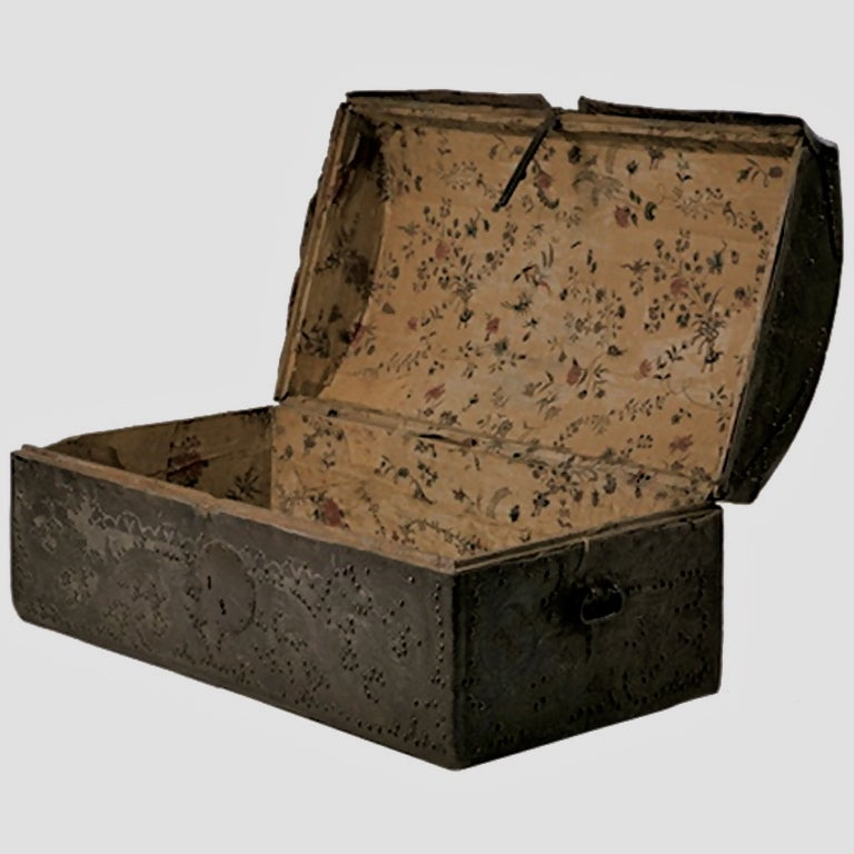 18th Century Colonial Leather Trunk image 4